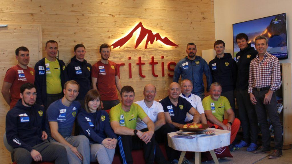 Gruppenbild: Die Russische Biathlon Nationalmanschaft